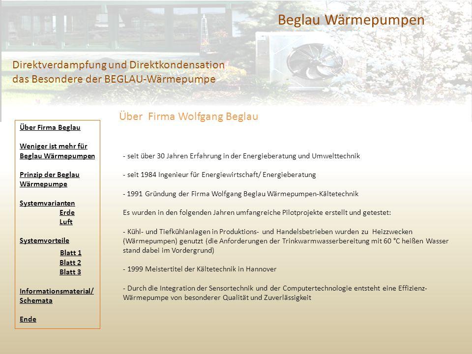 Beglau Wärmepumpen Direktverdampfung und Direktkondensation das Besondere der BEGLAU-Wärmepumpe. Über Firma Wolfgang Beglau.
