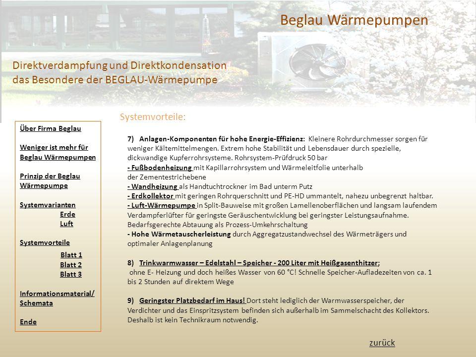 Beglau Wärmepumpen Direktverdampfung und Direktkondensation das Besondere der BEGLAU-Wärmepumpe. Systemvorteile:
