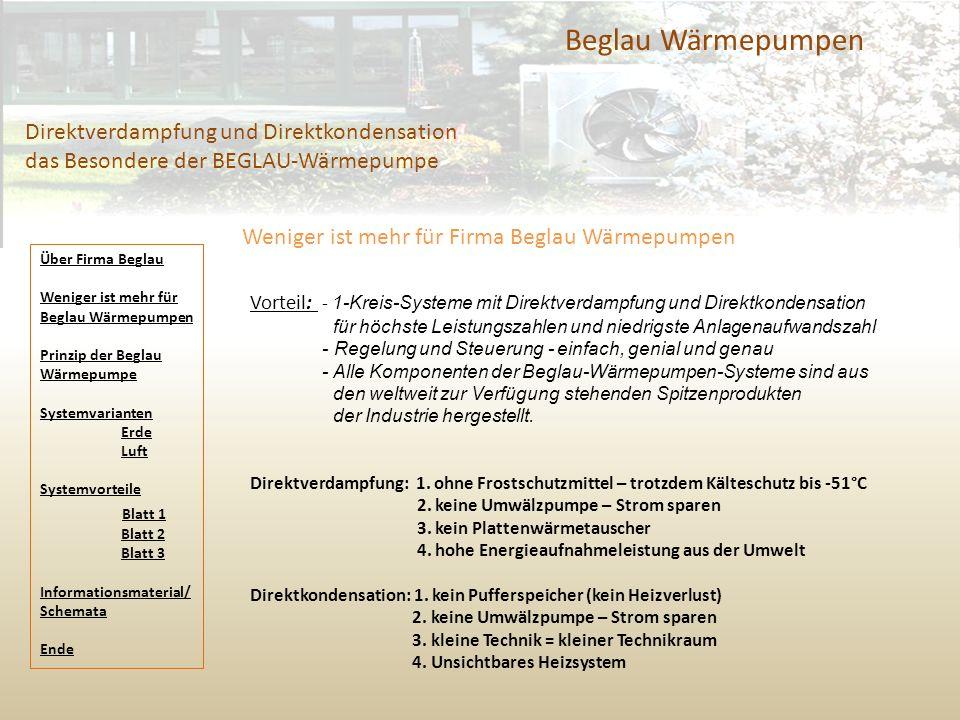 Beglau Wärmepumpen Direktverdampfung und Direktkondensation das Besondere der BEGLAU-Wärmepumpe. Weniger ist mehr für Firma Beglau Wärmepumpen.