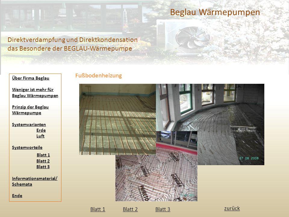 Beglau Wärmepumpen Direktverdampfung und Direktkondensation das Besondere der BEGLAU-Wärmepumpe. Fußbodenheizung.