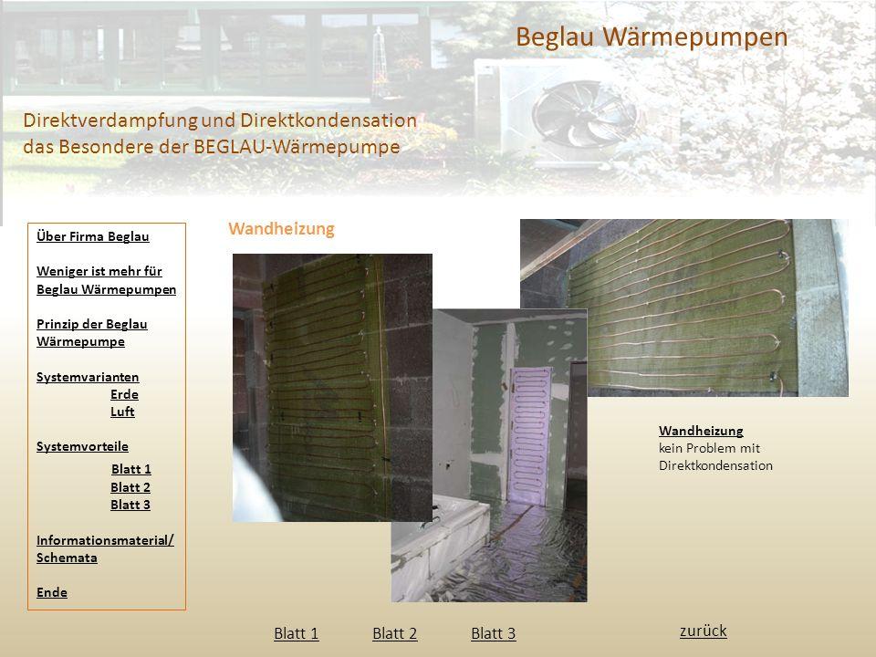 Beglau Wärmepumpen Direktverdampfung und Direktkondensation das Besondere der BEGLAU-Wärmepumpe. Wandheizung.