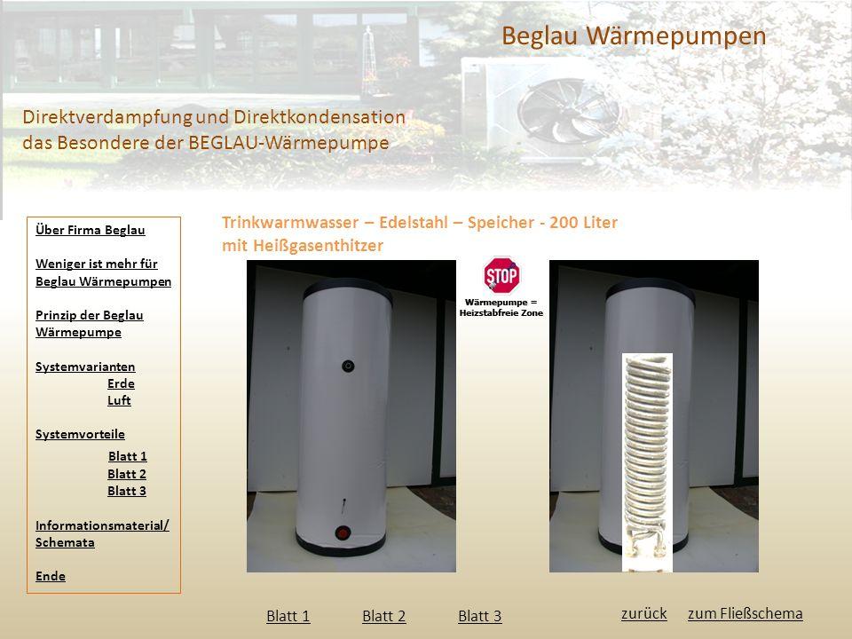 Beglau Wärmepumpen Direktverdampfung und Direktkondensation das Besondere der BEGLAU-Wärmepumpe. Trinkwarmwasser – Edelstahl – Speicher - 200 Liter.