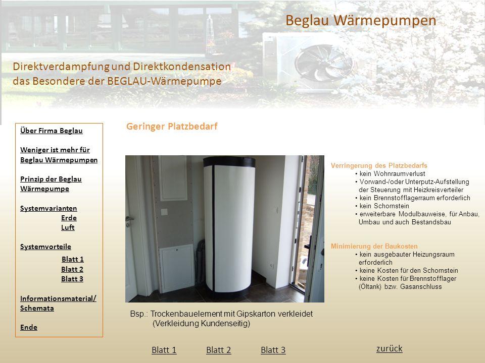 Beglau Wärmepumpen Direktverdampfung und Direktkondensation das Besondere der BEGLAU-Wärmepumpe. Geringer Platzbedarf.