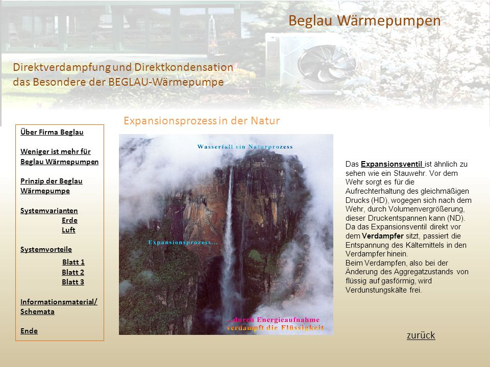 Beglau Wärmepumpen Direktverdampfung und Direktkondensation das Besondere der BEGLAU-Wärmepumpe. Expansionsprozess in der Natur.