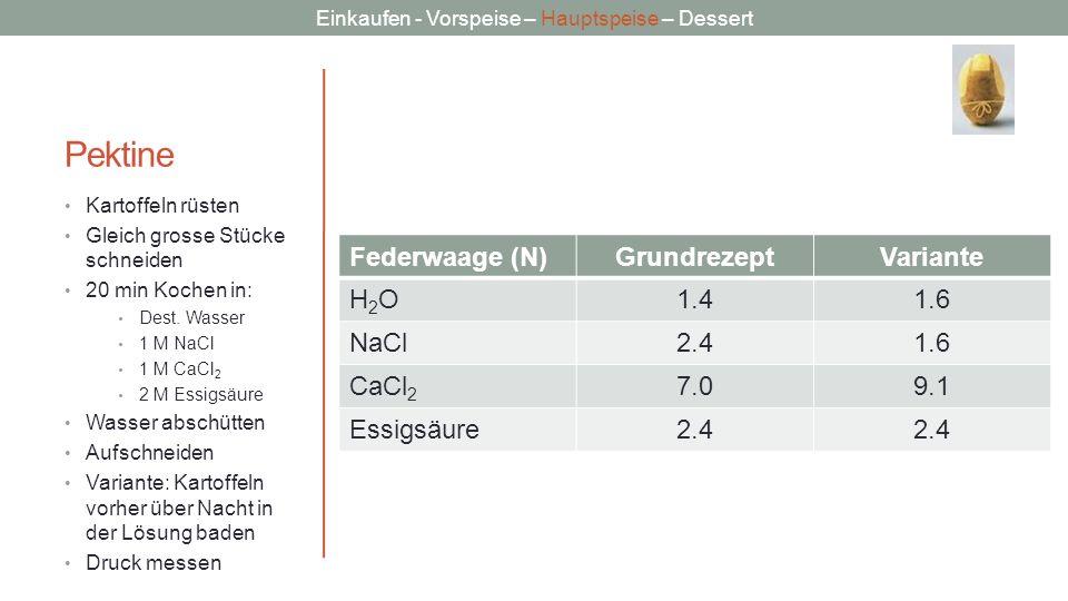 Pektine Federwaage (N) Grundrezept Variante H2O 1.4 1.6 NaCl 2.4 CaCl2