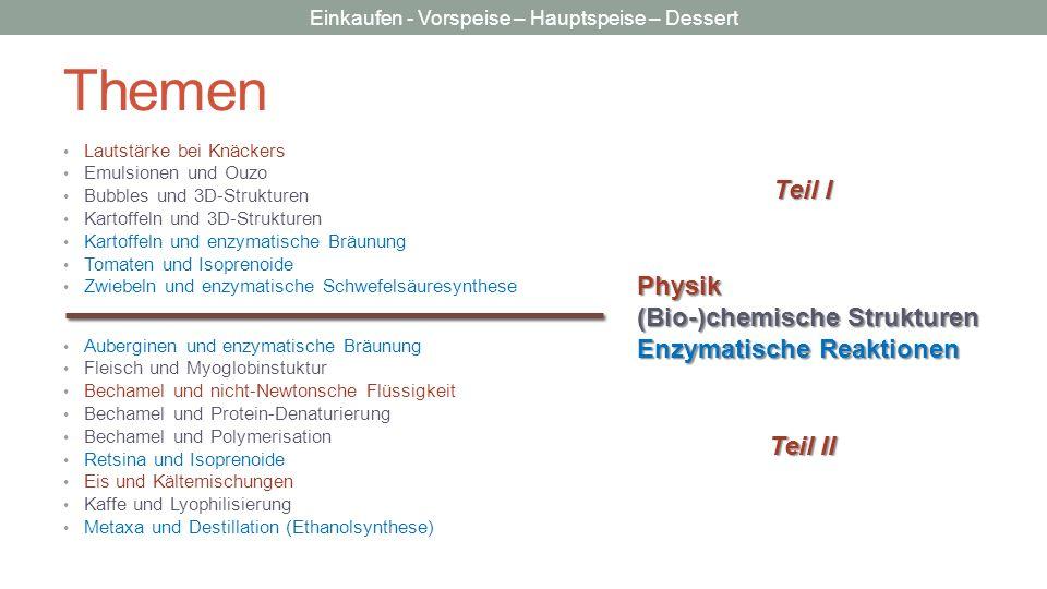 Themen Teil I Physik (Bio-)chemische Strukturen