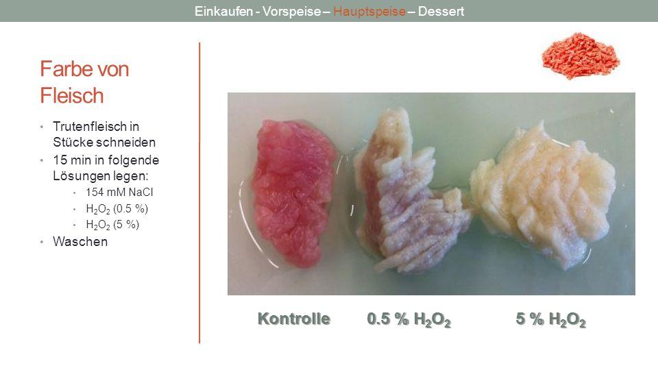 Farbe von Fleisch Kontrolle 0.5 % H2O2 5 % H2O2