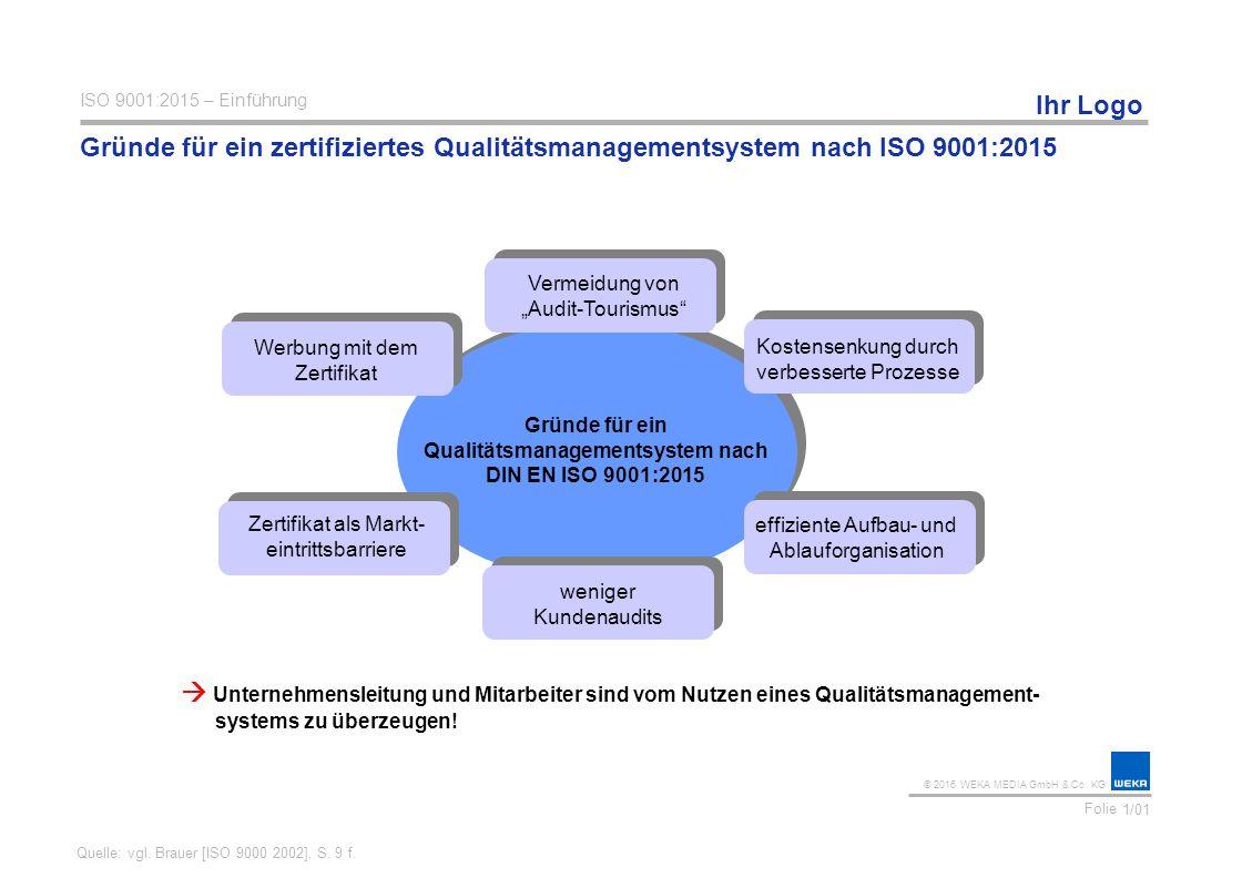 Gründe für ein Qualitätsmanagementsystem nach DIN EN ISO 9001:2015