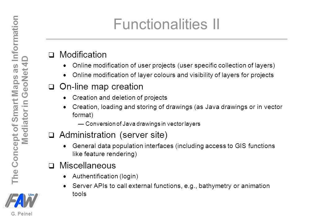 Functionalities II Modification On-line map creation