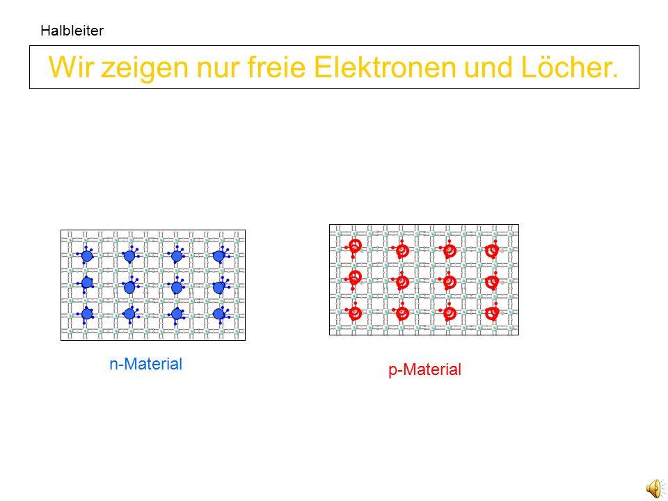 Wir zeigen nur freie Elektronen und Löcher.