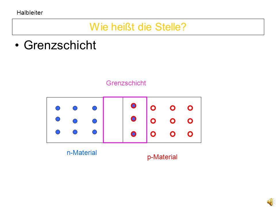 Grenzschicht Wie heißt die Stelle Grenzschicht n-Material p-Material