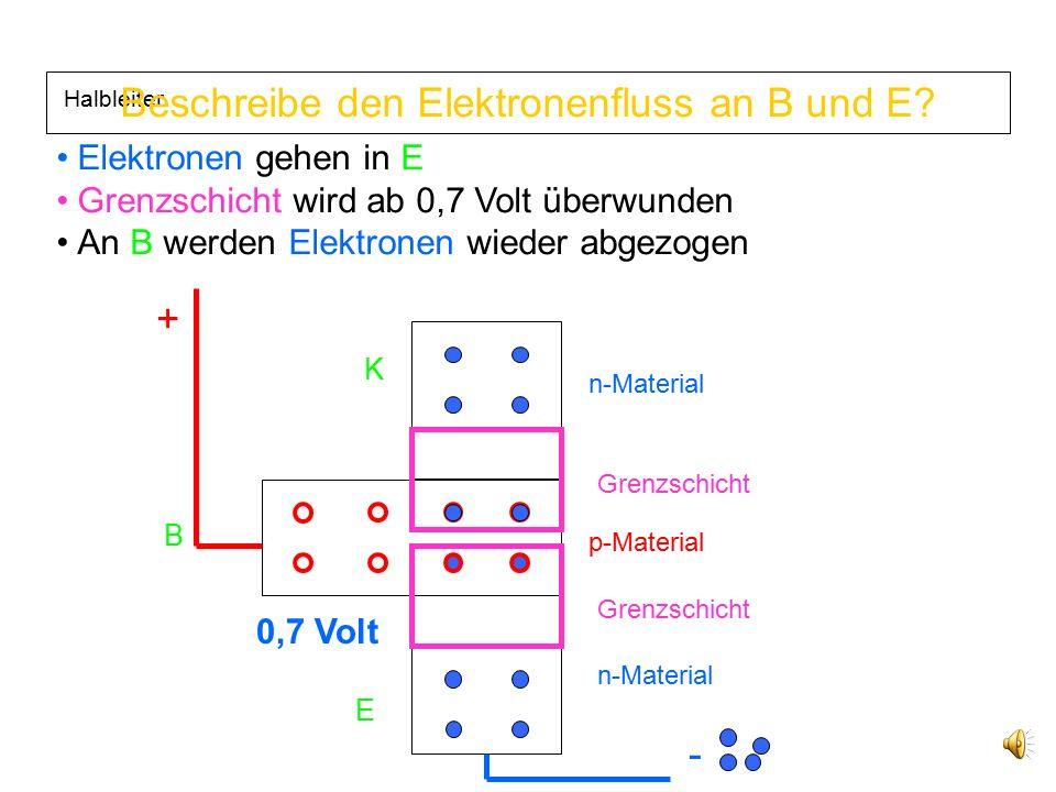 Beschreibe den Elektronenfluss an B und E