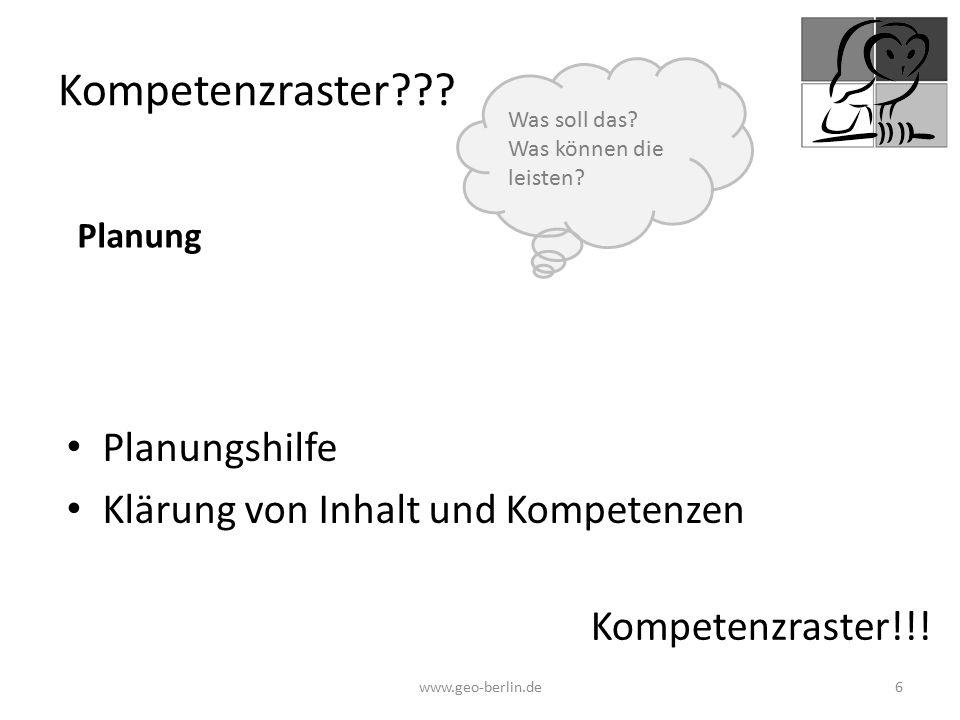 Kompetenzraster Planungshilfe Klärung von Inhalt und Kompetenzen