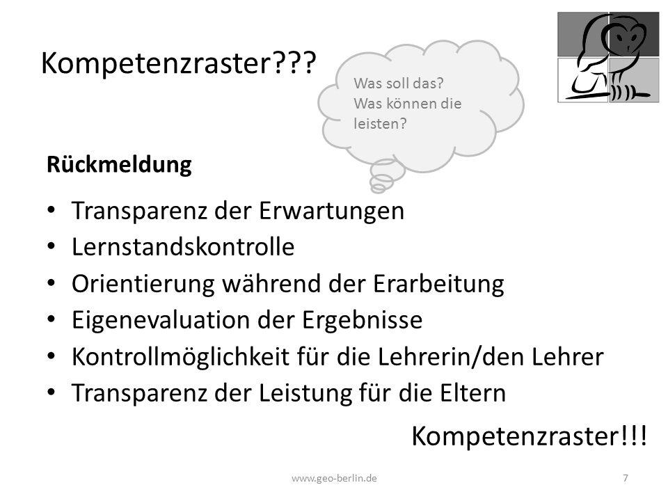 Kompetenzraster Kompetenzraster!!! Transparenz der Erwartungen