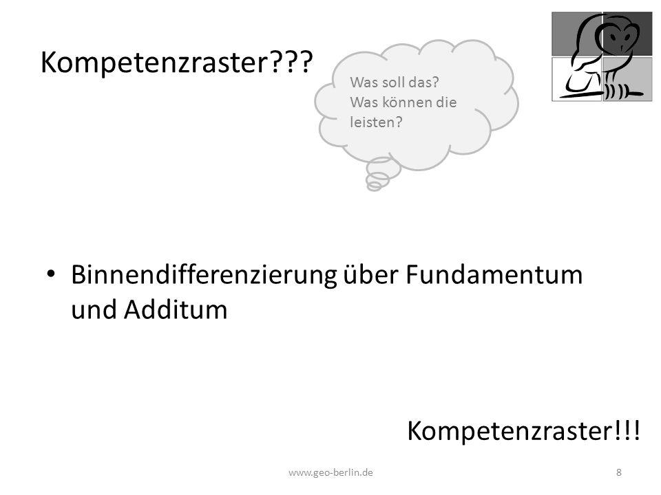 Kompetenzraster Binnendifferenzierung über Fundamentum und Additum