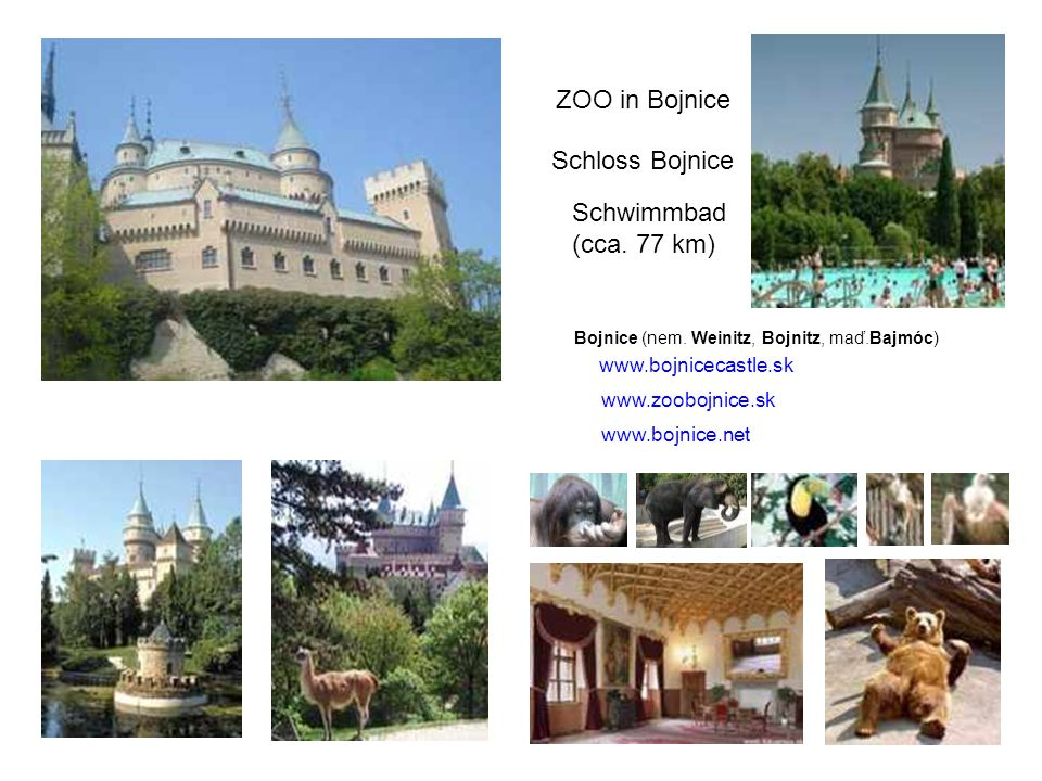 ZOO in Bojnice Schloss Bojnice Schwimmbad (cca. 77 km)