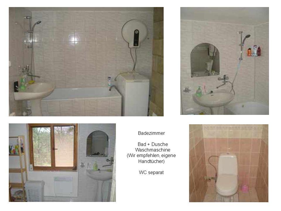 Badezimmer Bad + Dusche Waschmaschine (Wir empfehlen, eigene Handtücher)