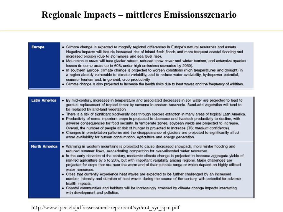 Regionale Impacts – mittleres Emissionsszenario