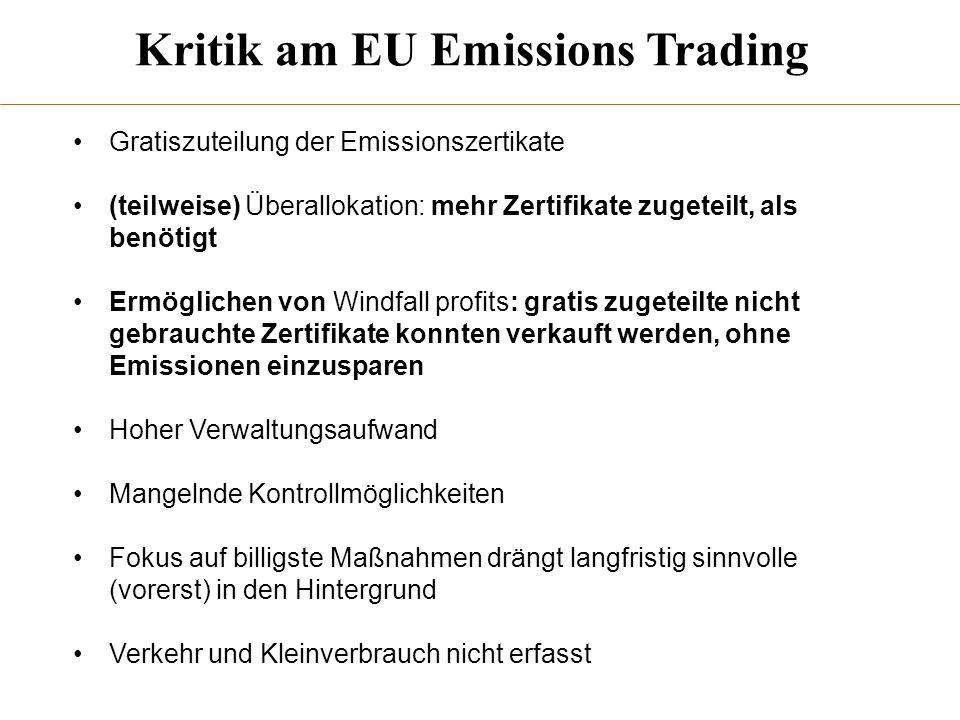 Kritik am EU Emissions Trading
