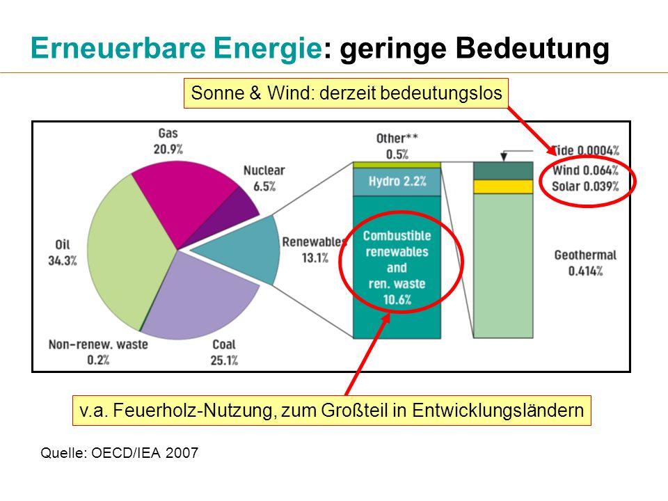 Erneuerbare Energie: geringe Bedeutung