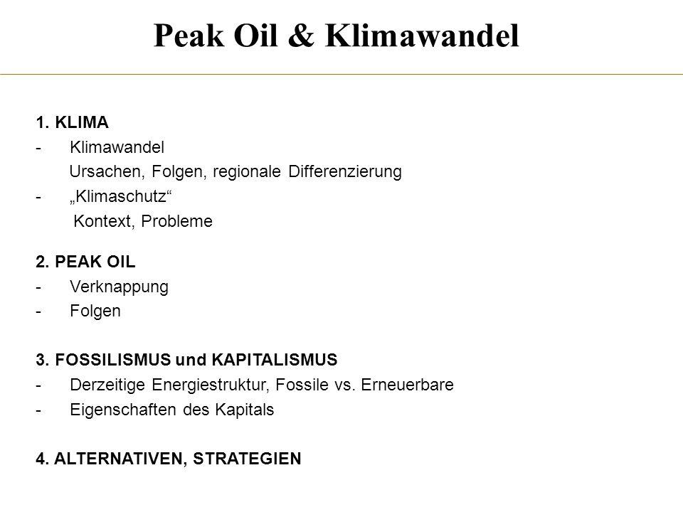 Peak Oil & Klimawandel 1. KLIMA Klimawandel