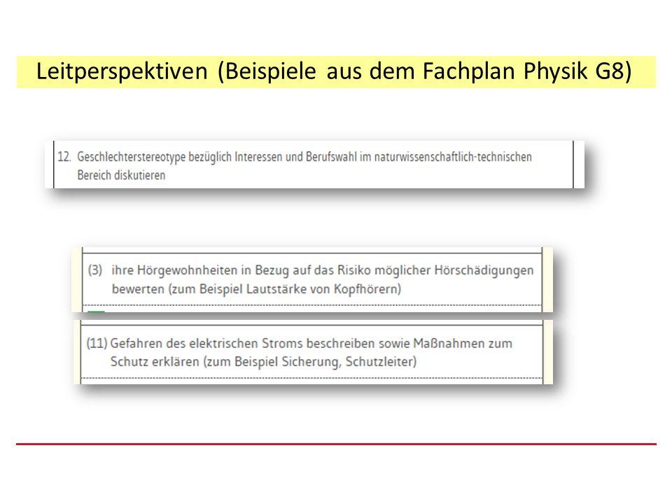 Leitperspektiven (Beispiele aus dem Fachplan Physik G8)
