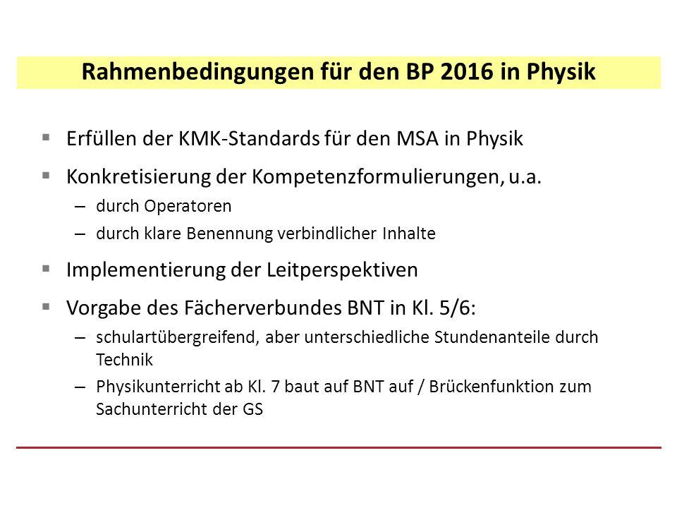 Rahmenbedingungen für den BP 2016 in Physik