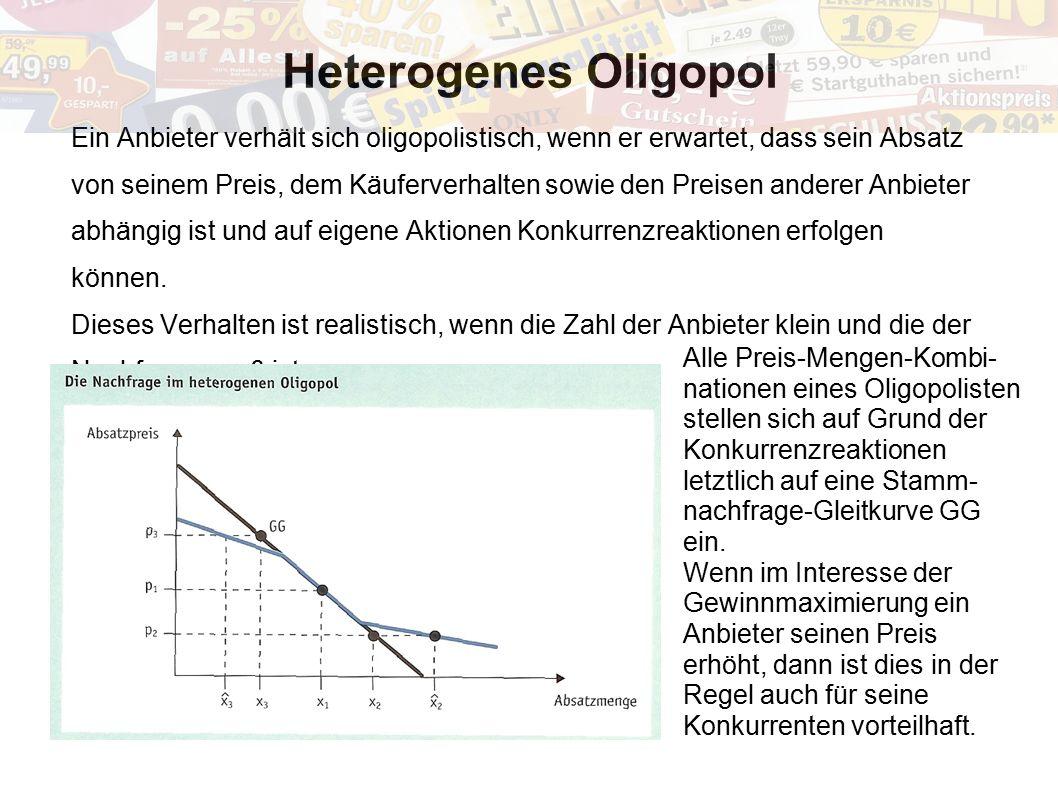 Heterogenes Oligopol Ein Anbieter verhält sich oligopolistisch, wenn er erwartet, dass sein Absatz.