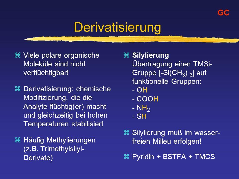 Derivatisierung GC. Viele polare organische Moleküle sind nicht verflüchtigbar!