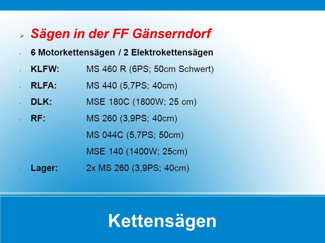 Kettensägen Sägen in der FF Gänserndorf