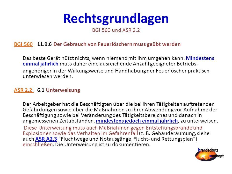 Rechtsgrundlagen BGI 560 und ASR 2.2