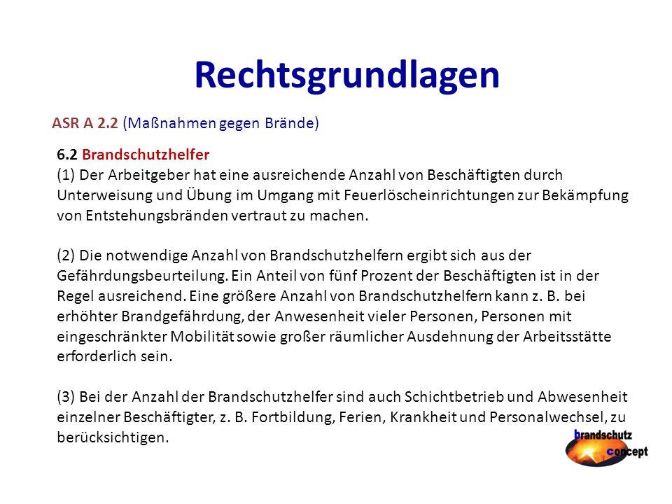 Rechtsgrundlagen ASR A 2.2 (Maßnahmen gegen Brände)