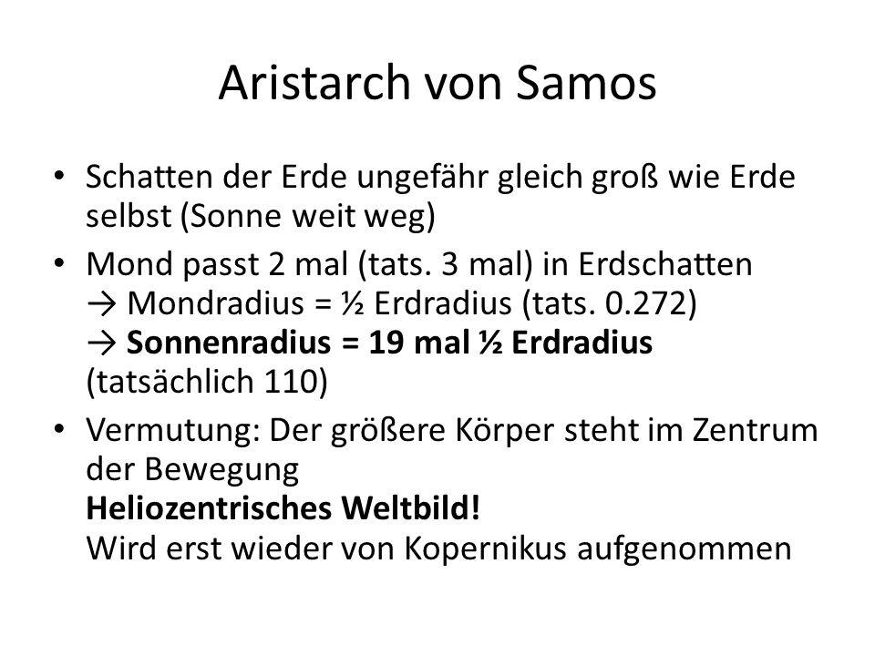 Aristarch von Samos Schatten der Erde ungefähr gleich groß wie Erde selbst (Sonne weit weg)