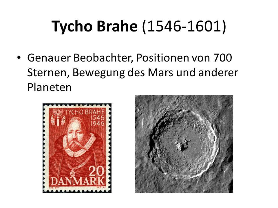 Tycho Brahe (1546-1601) Genauer Beobachter, Positionen von 700 Sternen, Bewegung des Mars und anderer Planeten.