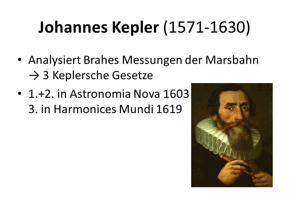 Johannes Kepler (1571-1630) Analysiert Brahes Messungen der Marsbahn → 3 Keplersche Gesetze.