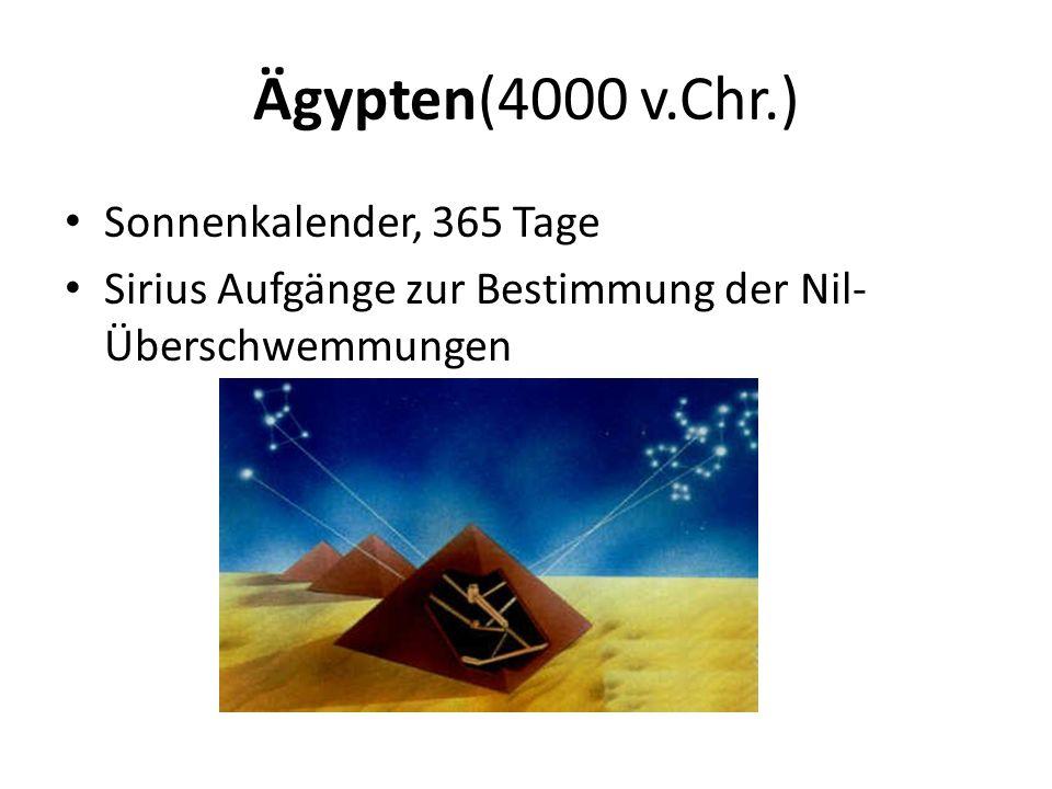 Ägypten(4000 v.Chr.) Sonnenkalender, 365 Tage