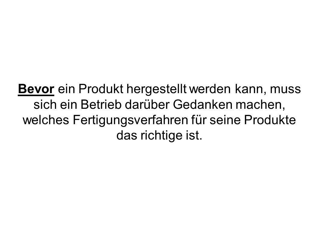 Bevor ein Produkt hergestellt werden kann, muss sich ein Betrieb darüber Gedanken machen, welches Fertigungsverfahren für seine Produkte das richtige ist.