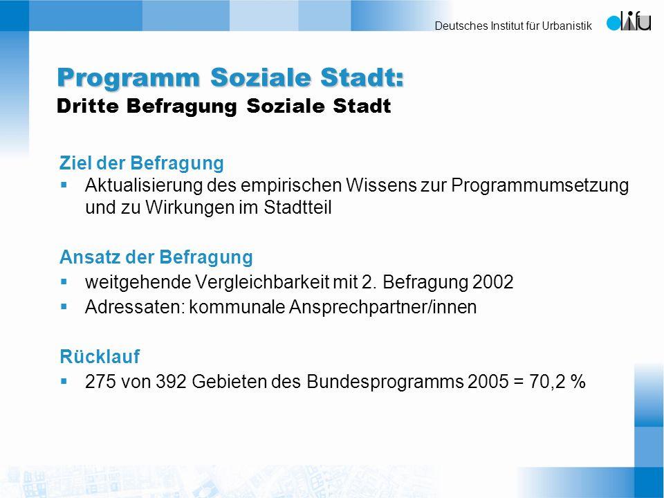 Programm Soziale Stadt: Dritte Befragung Soziale Stadt