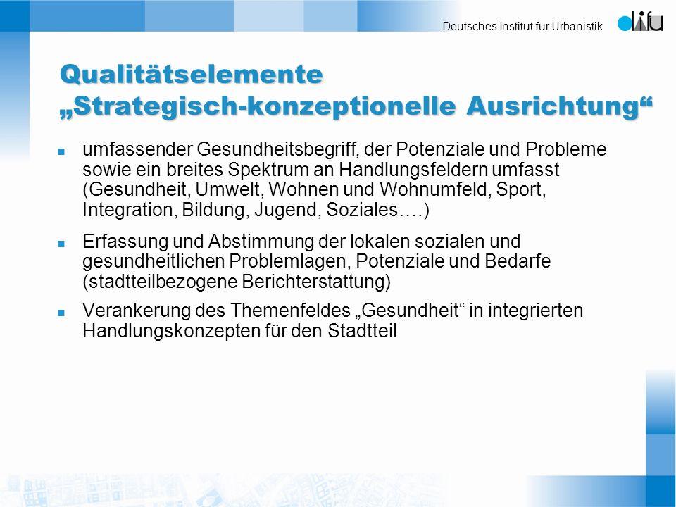 """Qualitätselemente """"Strategisch-konzeptionelle Ausrichtung"""