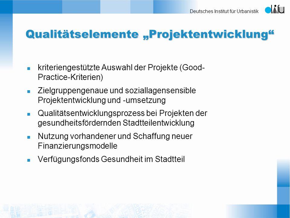 "Qualitätselemente ""Projektentwicklung"