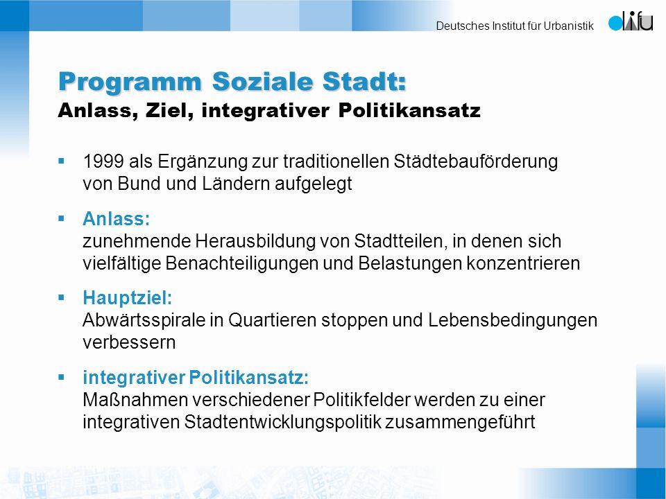 Programm Soziale Stadt: Anlass, Ziel, integrativer Politikansatz