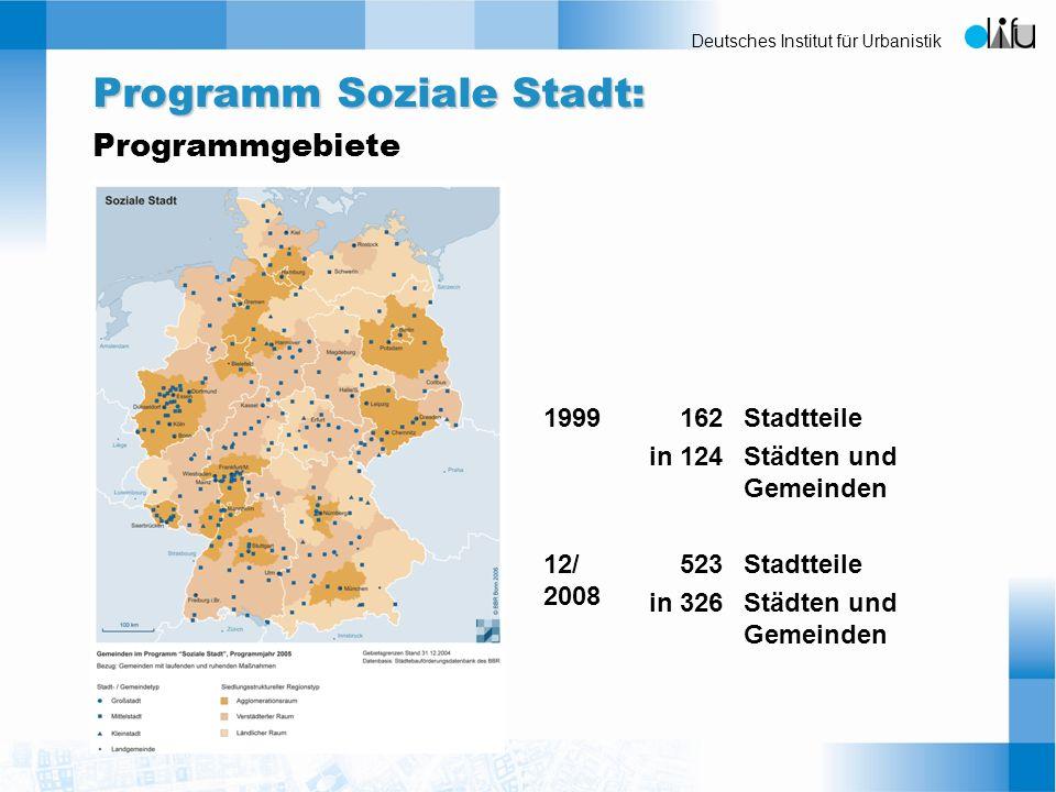 Programm Soziale Stadt: Programmgebiete