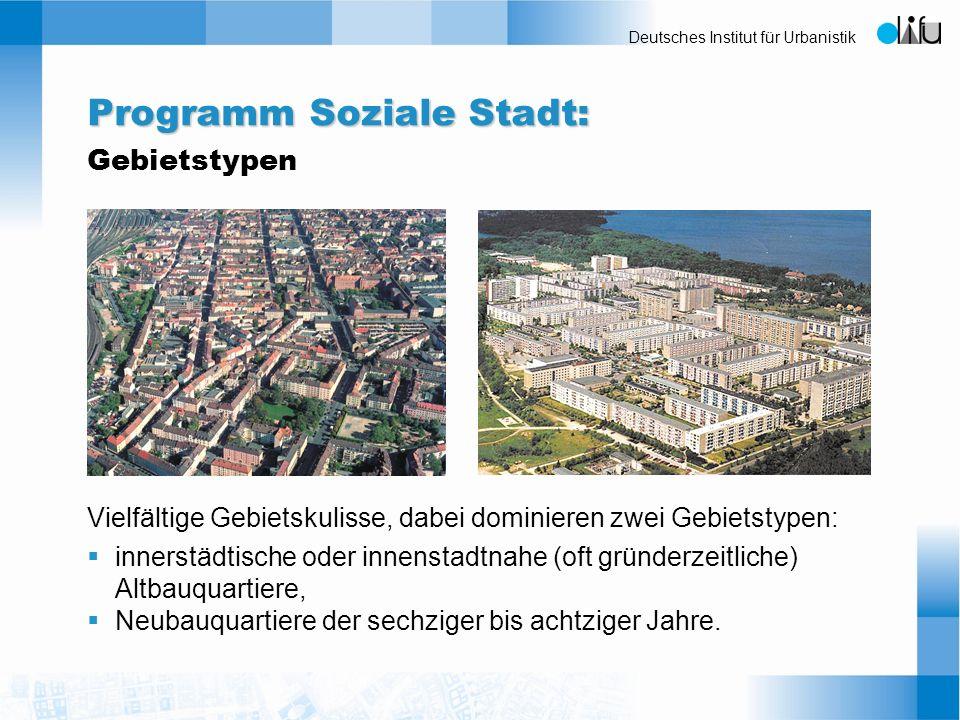 Programm Soziale Stadt: Gebietstypen