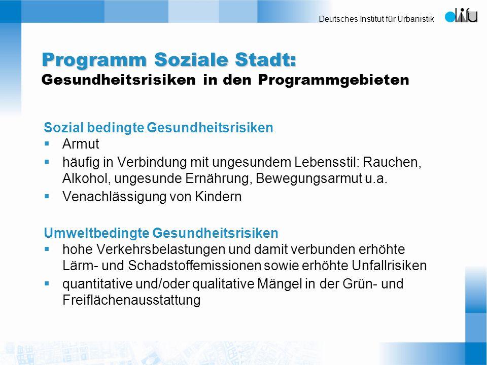 Programm Soziale Stadt: Gesundheitsrisiken in den Programmgebieten
