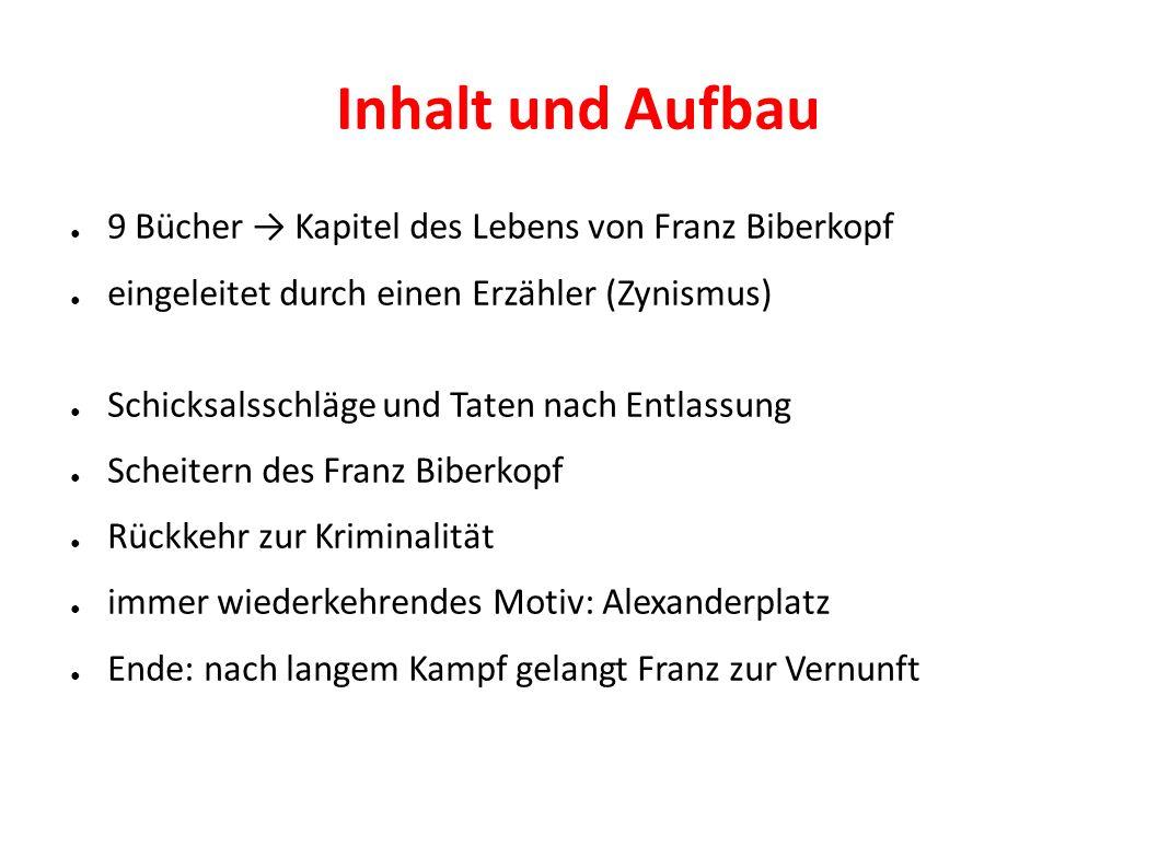 Inhalt und Aufbau 9 Bücher → Kapitel des Lebens von Franz Biberkopf