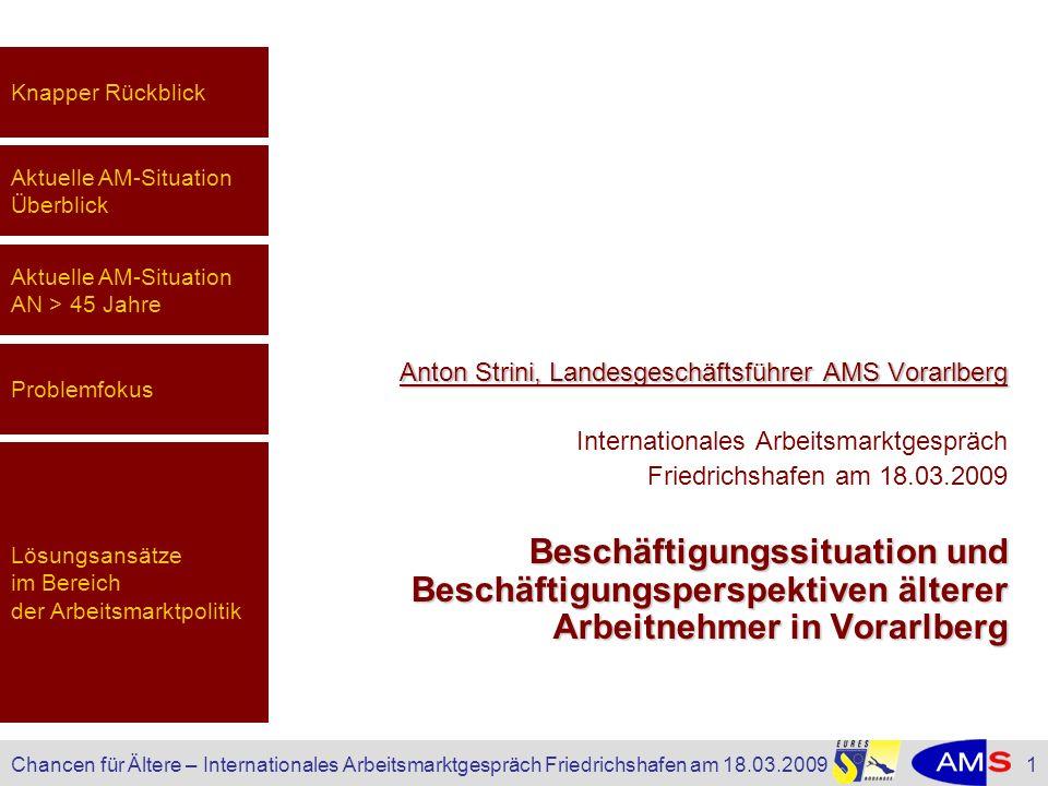 Knapper RückblickAktuelle AM-Situation Überblick. Aktuelle AM-Situation AN > 45 Jahre. Anton Strini, Landesgeschäftsführer AMS Vorarlberg.