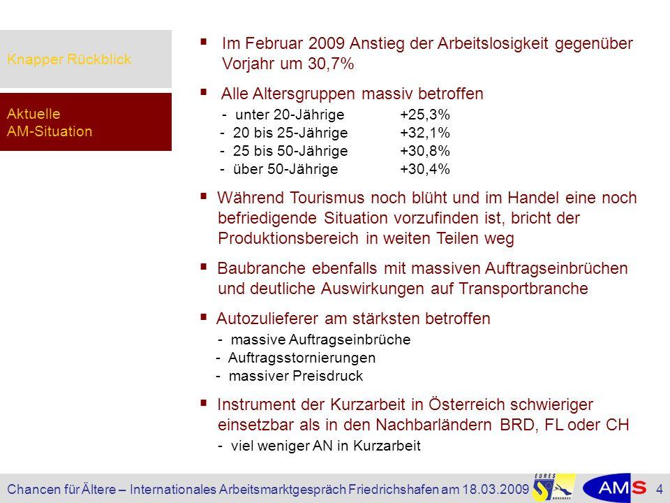 Knapper RückblickIm Februar 2009 Anstieg der Arbeitslosigkeit gegenüber Vorjahr um 30,7%