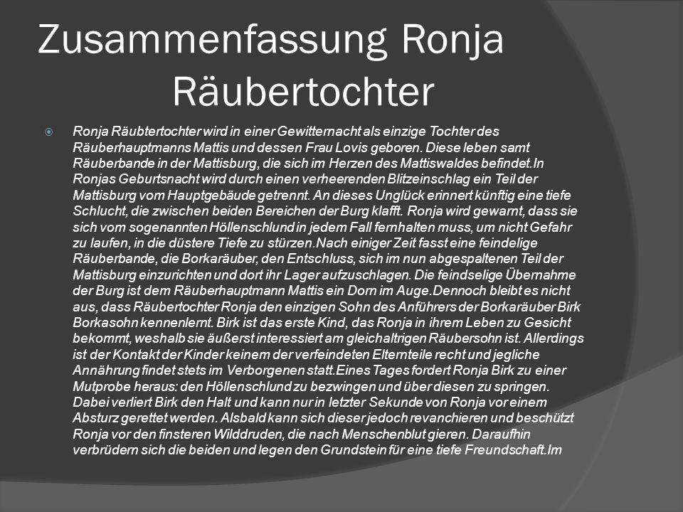 Zusammenfassung Ronja Räubertochter
