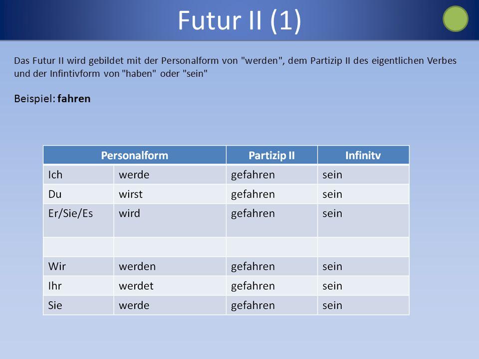 Futur II (1) Beispiel: fahren
