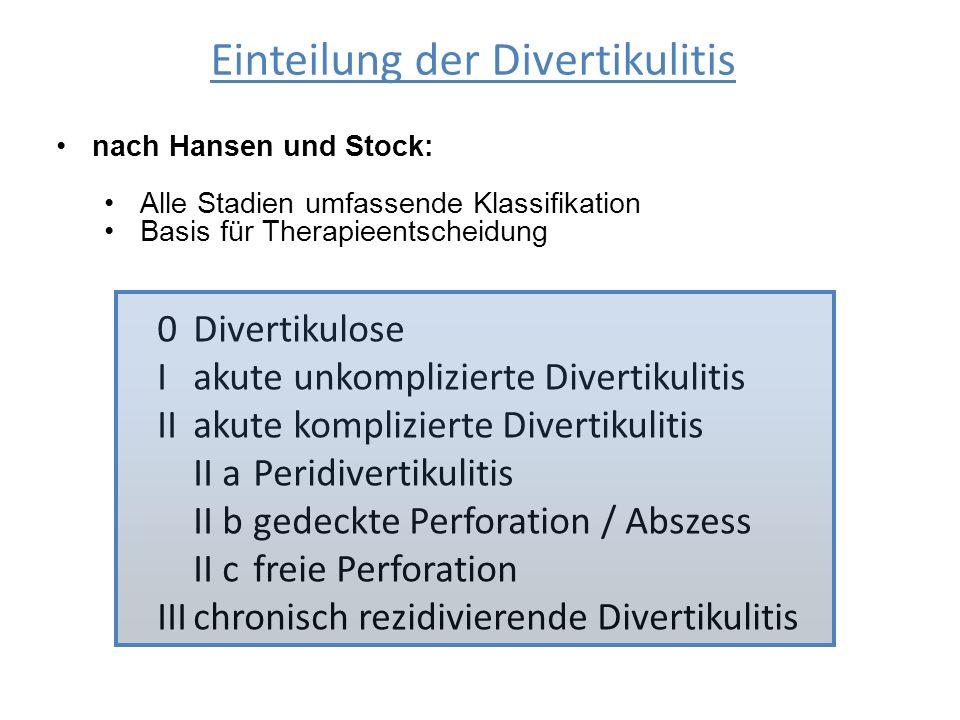 Einteilung der Divertikulitis